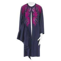DRIES VAN NOTEN SS16 Ruth pink embroidered blue ruffle topper coat FR40 US8 M