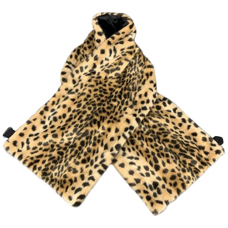 7c1232700bc3 DRIES VAN NOTEN Tan Cheetah Print Faux Fur Scarf For Sale at 1stdibs