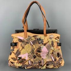DRIES VAN NOTEN Tan Embroidered Detachable Black Leather Shoulder Combo Handbag