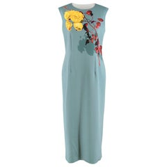 Dries Van Noten Teal Floral-print stretch-jersey midi dress M 40