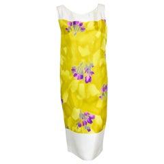 Dries Van Noten White,Yellow & Violet Floral Sleeveless Dress