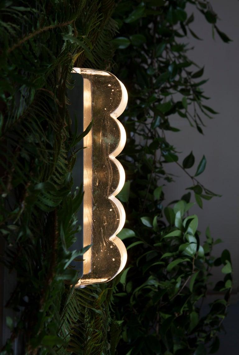 American Drift Bump Contemporary Sculptural Cast Glass Wall Light Sconce For Sale