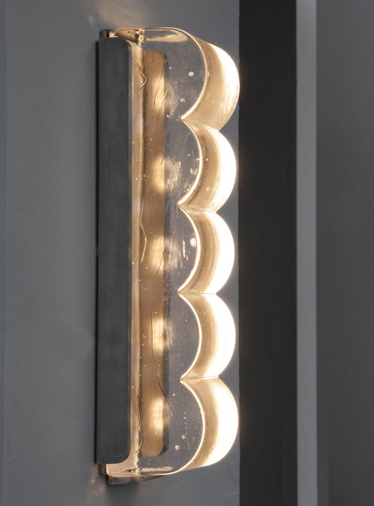 Aluminum Drift Bump Contemporary Sculptural Cast Glass Wall Light Sconce For Sale
