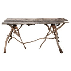 English Country Reclaimed Driftwood Garden Table