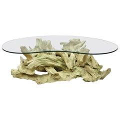 Driftwood Mid-Century Modern Tiki Jungle Room Coffee Table with Illuminated Base