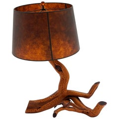 Driftwood Table Lamp with Mica Shade, Beautiful Patina, See Photos