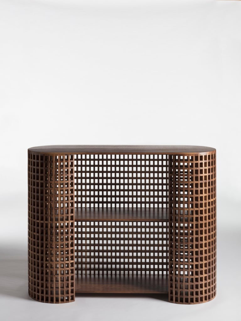 A wooden grating in a two-dimensional form traditionally made with wooden