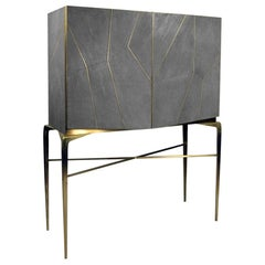 Drink Cabinet Hydra in Genuine Shagreen and Brass by Ginger Brown