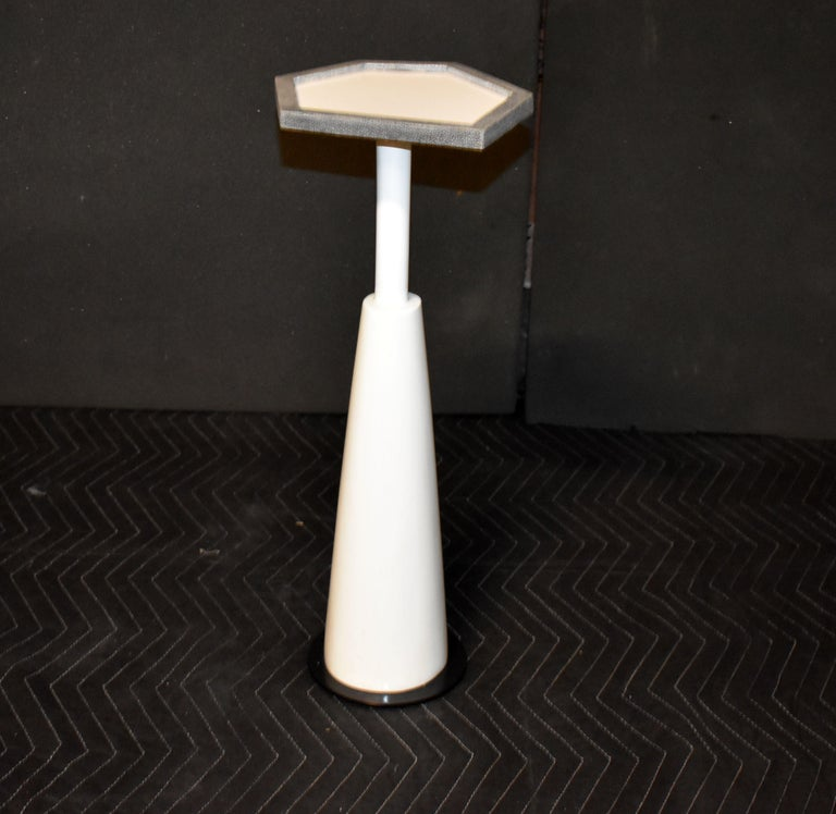 Drink Side Table with Shagreen Trim For Sale 3