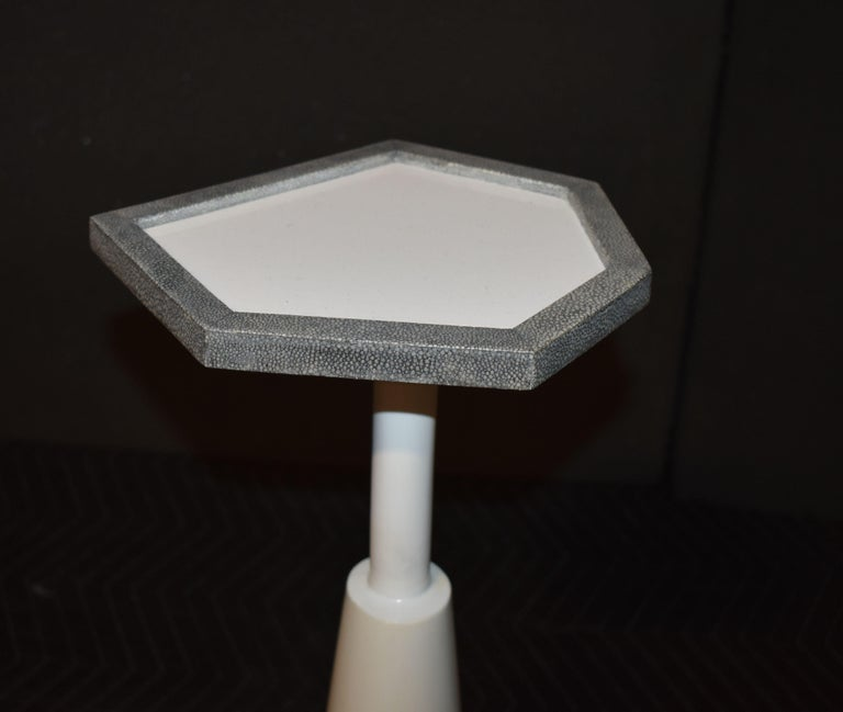 Drink Side Table with Shagreen Trim For Sale 2
