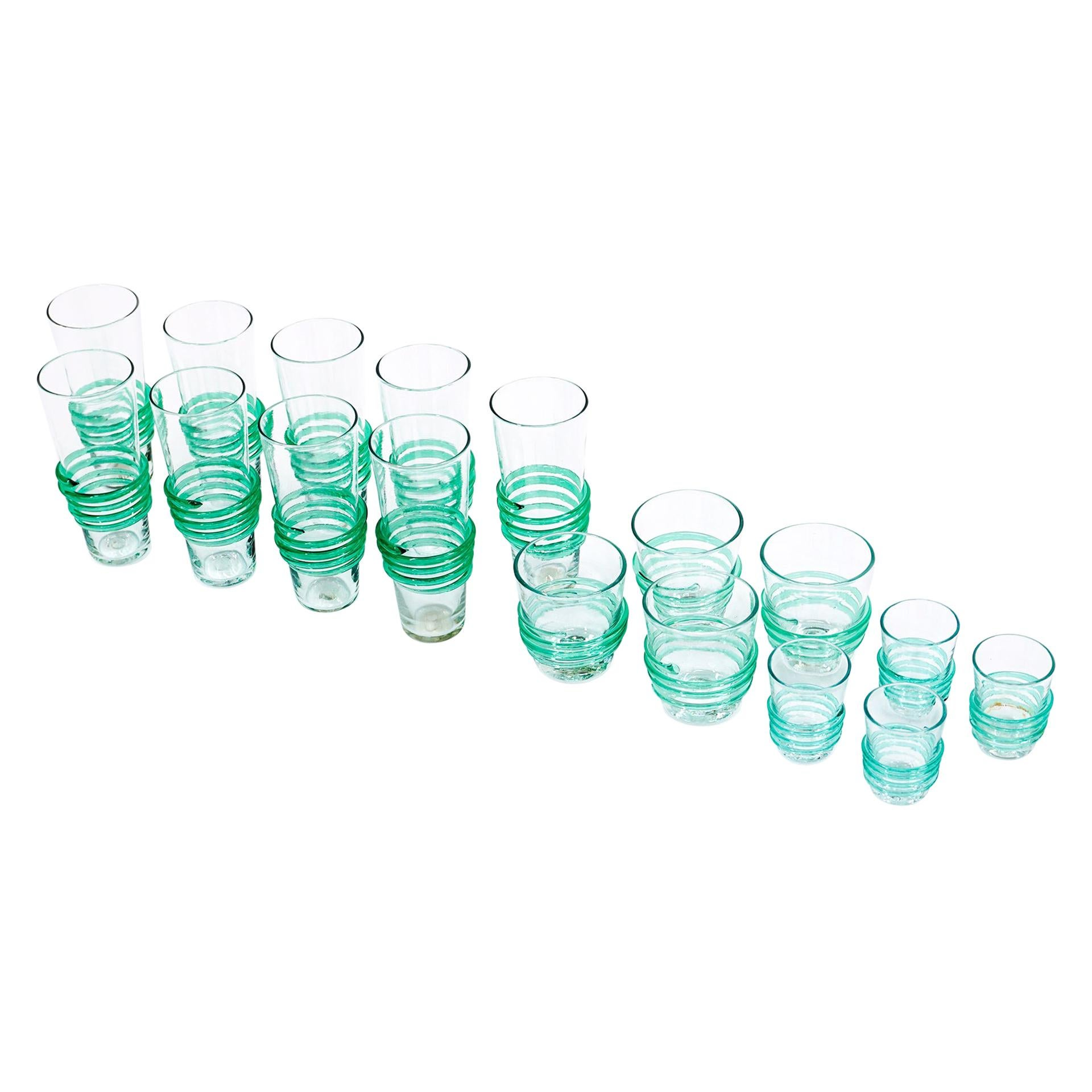 Drinking, Cocktail, and Shot Glasses by Blenko, 1950s, Blown Clear & Green Glass