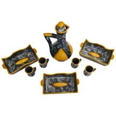 Drinking Set 1950s French Pottery by Luc Vallauris