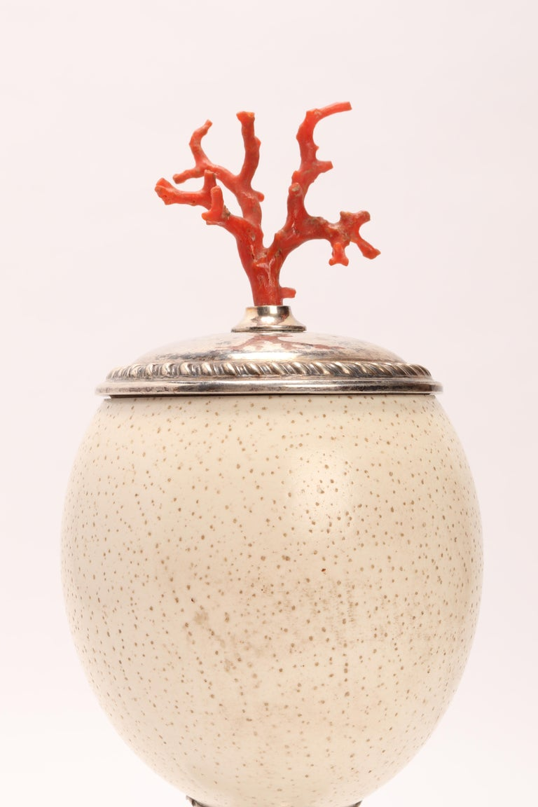 Drinking Vessel from an Ostrich Egg, Italy, 1800 In Excellent Condition For Sale In Milan, IT