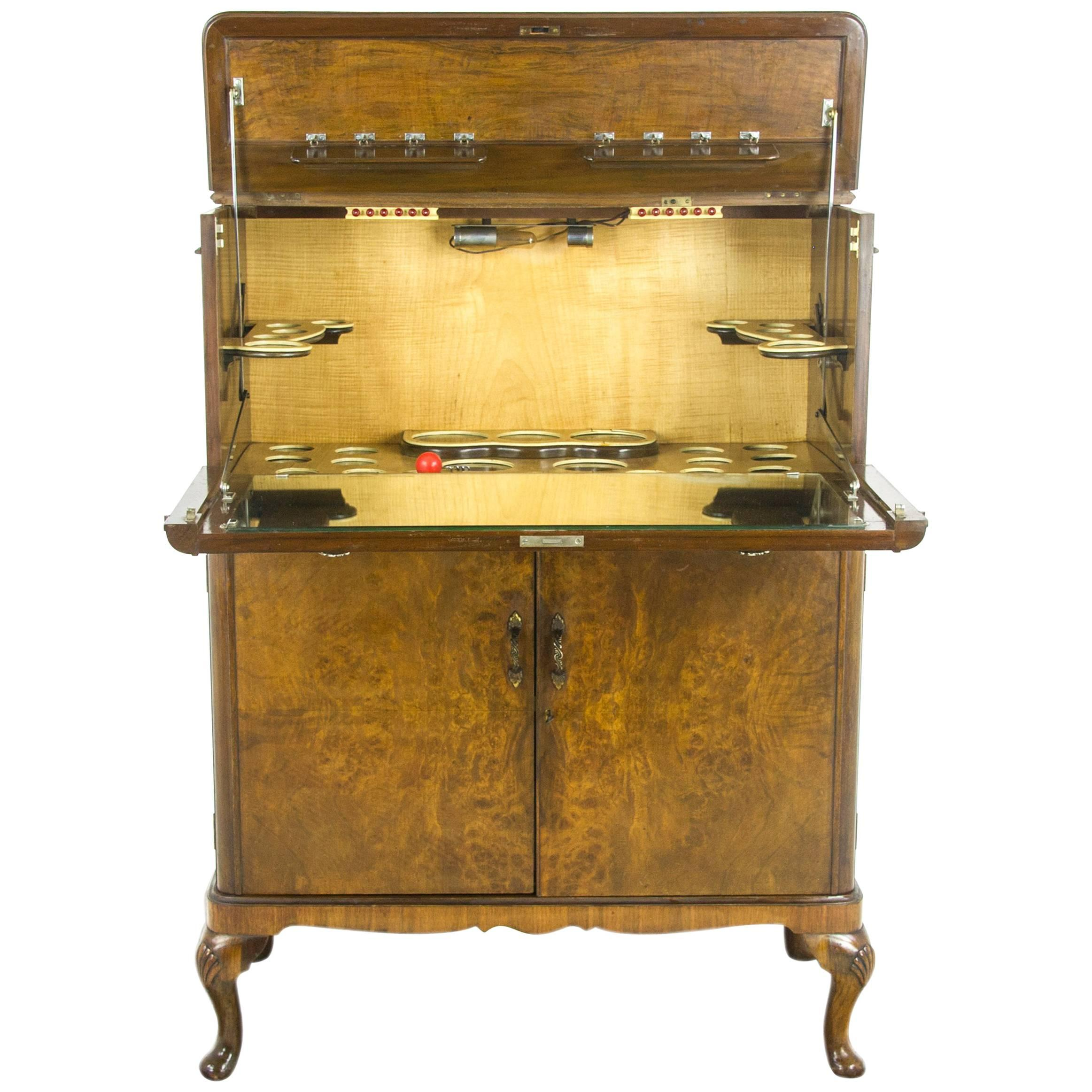 Superbe Drinks Cabinet, Antique Dry Bar, Cocktail Cabinet, Walnut, Scotland  REDUCED! For