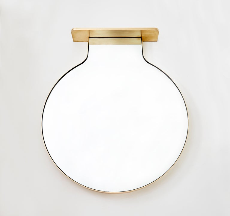 "American ""Drip Drop Mirror"", Minimalist Brushed Bronze Wall Mirror with Shelving For Sale"