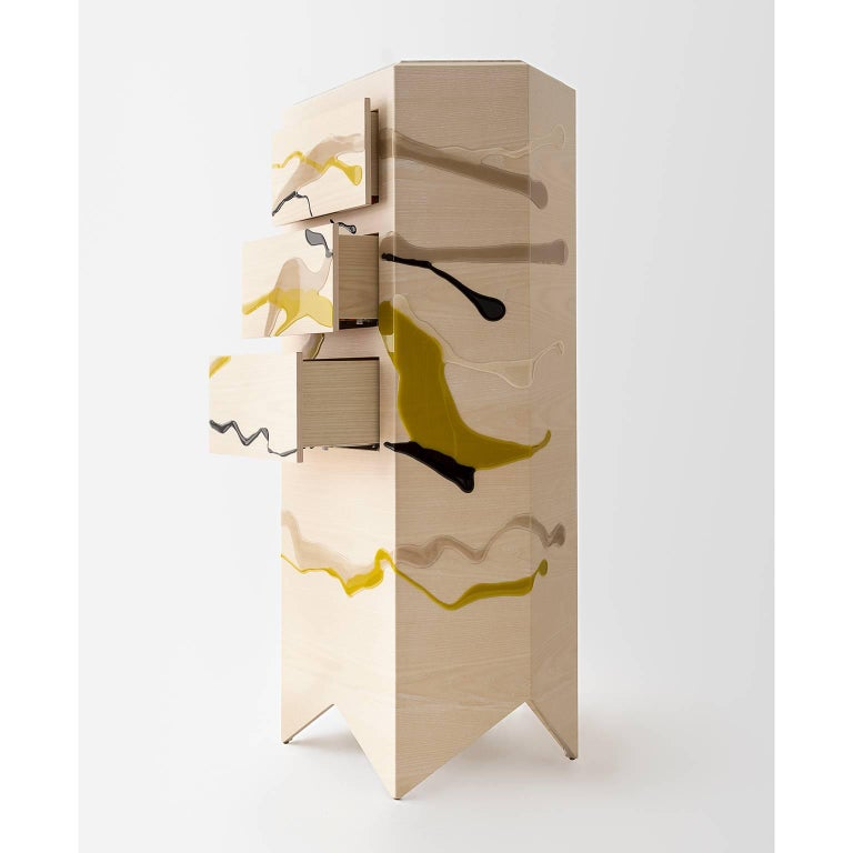 Organic Modern Drip/Fold Dresser, Ash Plywood with Lime Resin and Quartzite Top - AVAILABLE NOW For Sale
