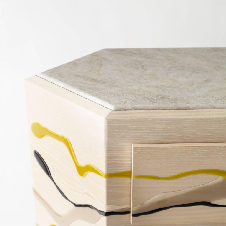 American Drip/Fold Dresser, Ash Plywood with Lime Resin and Quartzite Top - AVAILABLE NOW For Sale