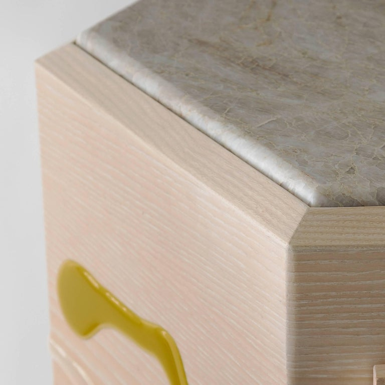 Glazed Drip/Fold Dresser, Ash Plywood with Lime Resin and Quartzite Top - AVAILABLE NOW For Sale