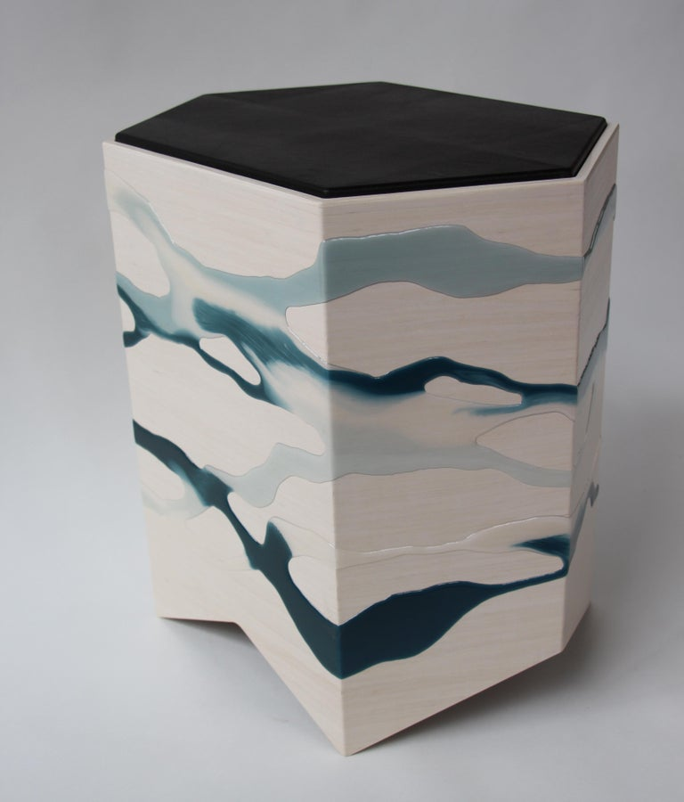 Drip/Fold Side Table Ash Plywood with Teal-Indigo Resin Black Vinyl Top in Stock For Sale 2