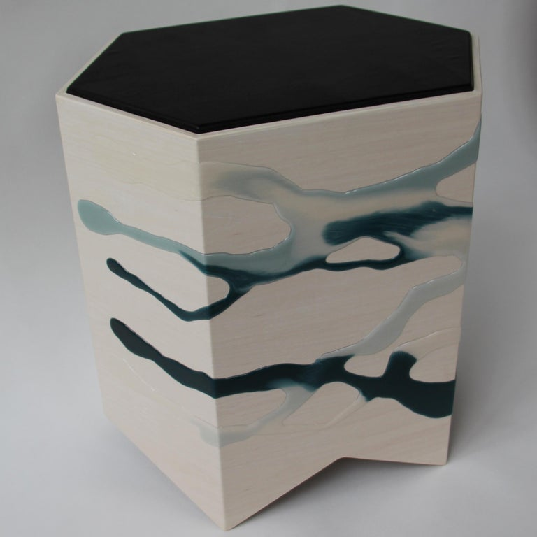 Drip/Fold Side Table Ash Plywood with Teal-Indigo Resin Black Vinyl Top in Stock For Sale 4