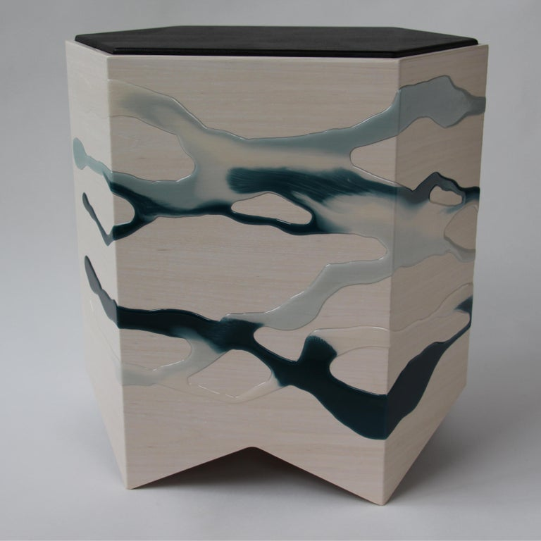 Organic Modern Drip/Fold Side Table Ash Plywood with Teal-Indigo Resin Black Vinyl Top in Stock For Sale