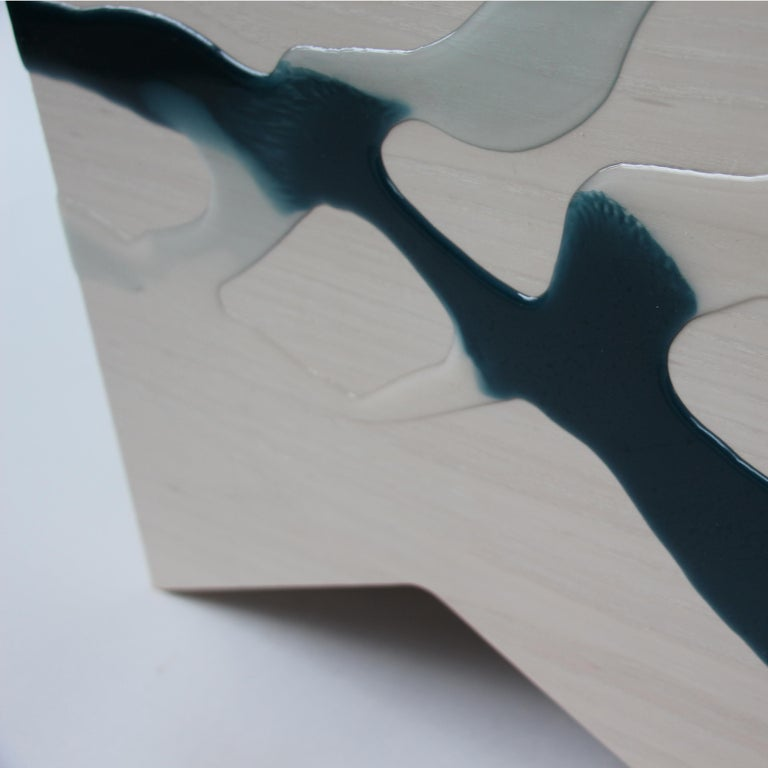American Drip/Fold Side Table Ash Plywood with Teal-Indigo Resin Black Vinyl Top in Stock For Sale