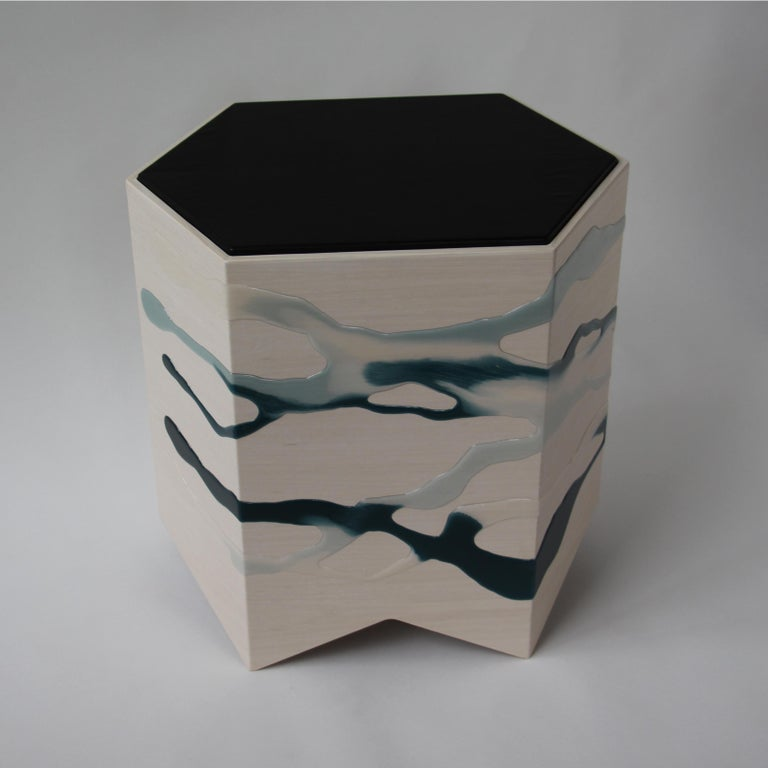 Glazed Drip/Fold Side Table Ash Plywood with Teal-Indigo Resin Black Vinyl Top in Stock For Sale