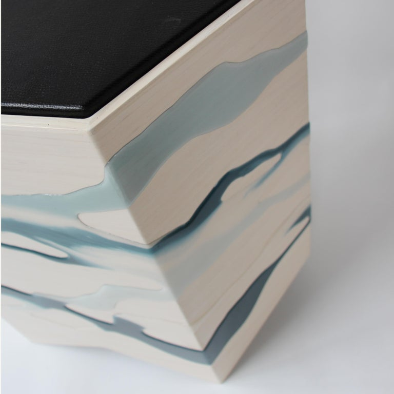 Drip/Fold Side Table Ash Plywood with Teal-Indigo Resin Black Vinyl Top in Stock In New Condition For Sale In Brooklyn, NY