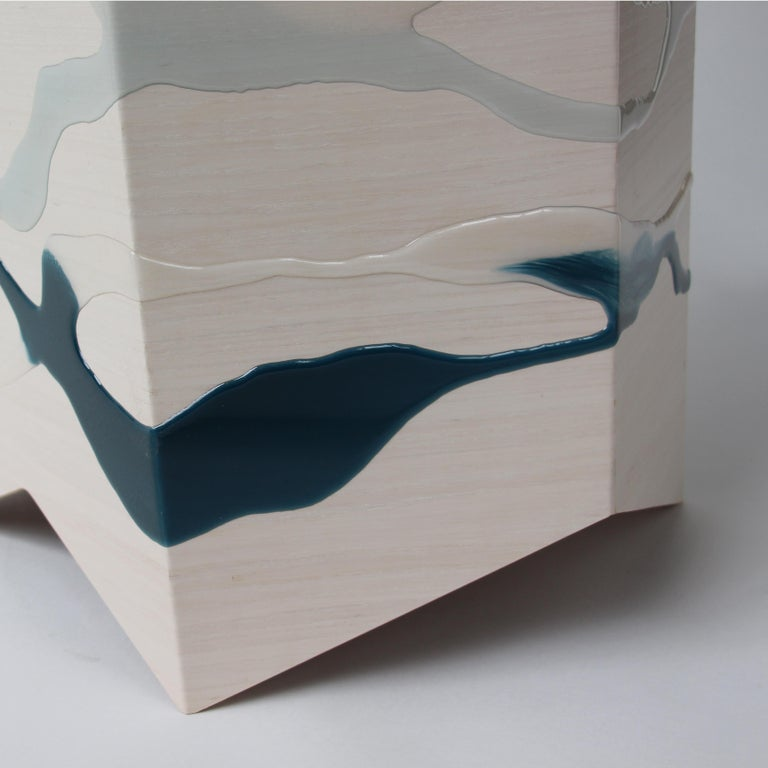 Contemporary Drip/Fold Side Table Ash Plywood with Teal-Indigo Resin Black Vinyl Top in Stock For Sale