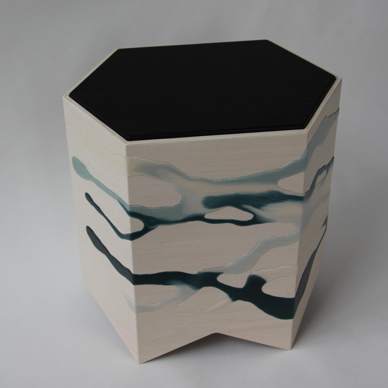 Leather Drip/Fold Side Table Ash Plywood with Teal-Indigo Resin Black Vinyl Top in Stock For Sale