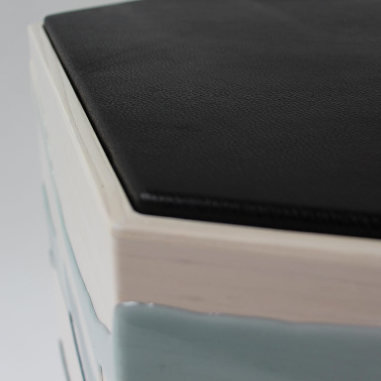 Drip/Fold Side Table Ash Plywood with Teal-Indigo Resin Black Vinyl Top in Stock For Sale 1