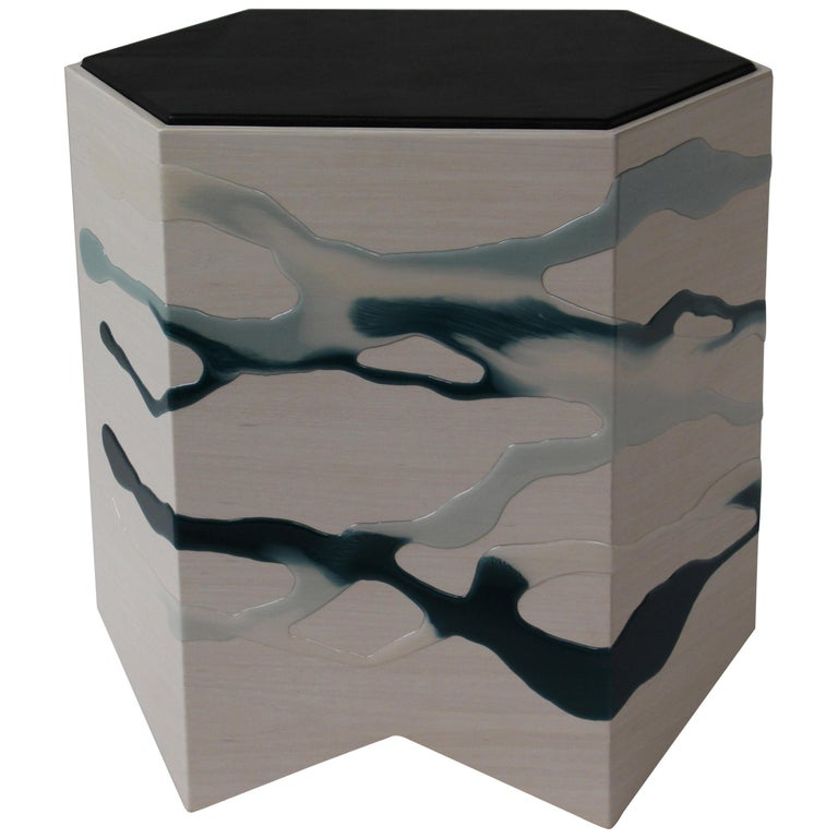Drip/Fold Side Table Ash Plywood with Teal-Indigo Resin Black Vinyl Top in Stock For Sale