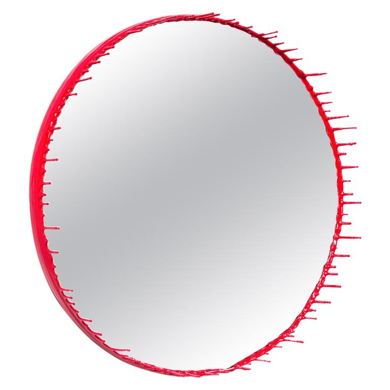 Drip Mirror, Primary Collection, Red by Elyse Graham, USA, 2015 For Sale