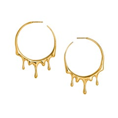 Dripping Circular M-1 Gold Earrings