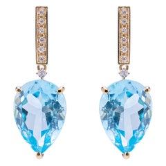 Art Deco Style 18Karat Gold Blue Topaz 0.06 Karat White Diamonds Earrings