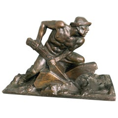 """Driving the Plow,"" Large, Powerful Bronze Sculpture with Half-Nude Male Figure"