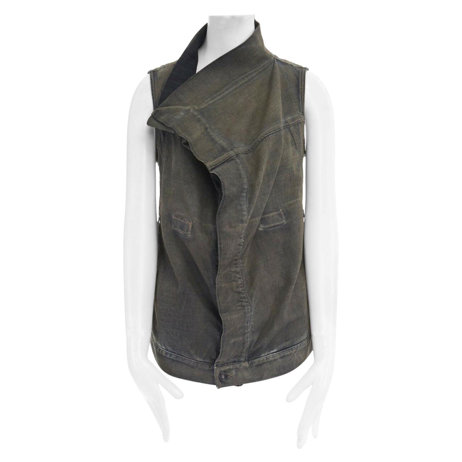 DRKSHDW RICK OWENS washed denim draped collar Exploder wrap vest jacket S