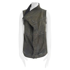 DRKSHDW RICK OWENS washed denim draped collar Exploder wrap vest jacket S