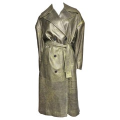 Drome New Gold Leather Belted Trench Coat