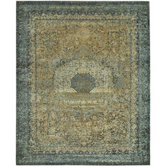 """""""Drona"""" Blue Gold Hand-Knotted Area Rug"""