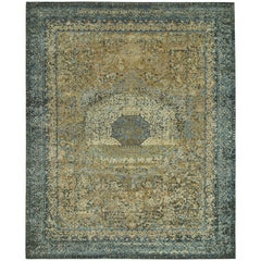 """""""Drona"""" Blue Gold Hand-Knotted Area Rug, In Stock"""