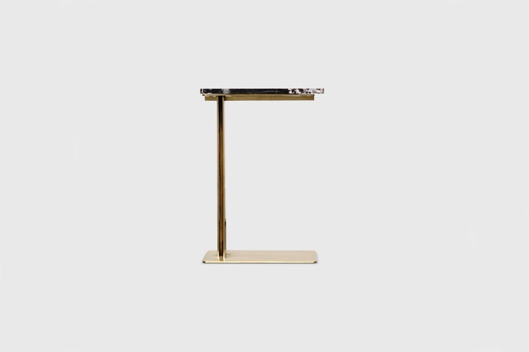 Drone Side Table Set x 2 Black Marble and Brass Table by ATRA For Sale 7