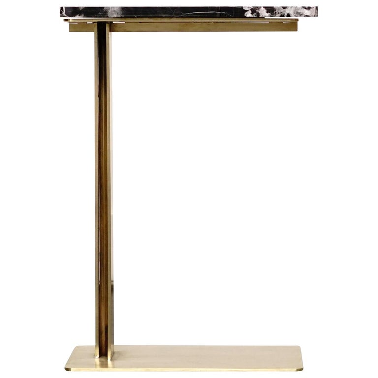 Drone side table Marble and brass table by ATRA Designer- Alexander Diaz Andersson.  Size: Height 23.63 in. (60 cm), width 13.78 in. (35 cm), depth 15.75 in. (40 cm).