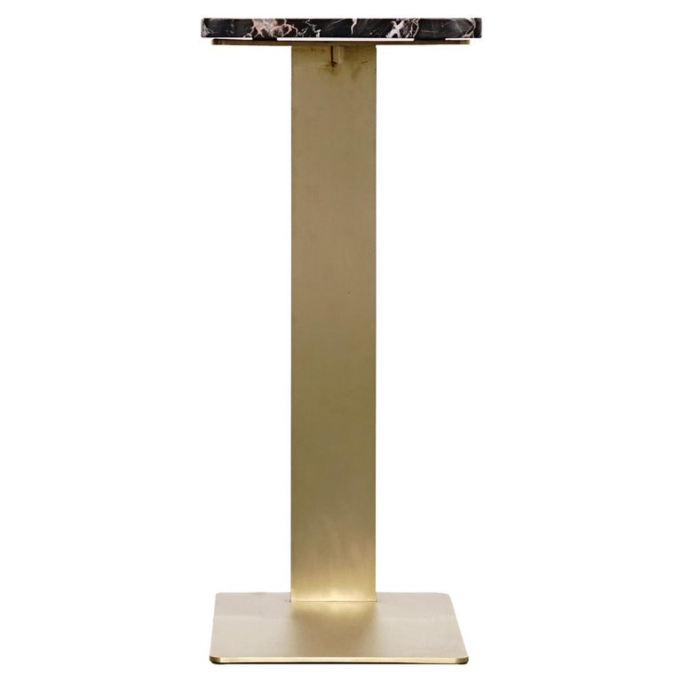 Industrial Drone Side Table Set x 2 Black Marble and Brass Table by ATRA For Sale