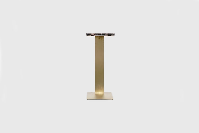 Mexican Drone Side Table Set x 2 Black Marble and Brass Table by ATRA For Sale