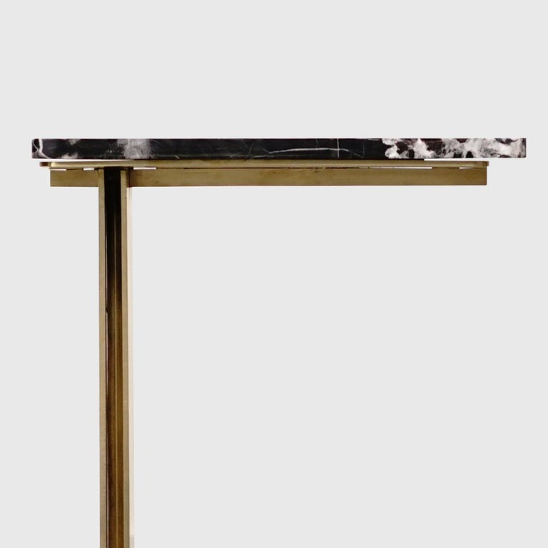 Drone Side Table Set x 2 Black Marble and Brass Table by ATRA For Sale 1
