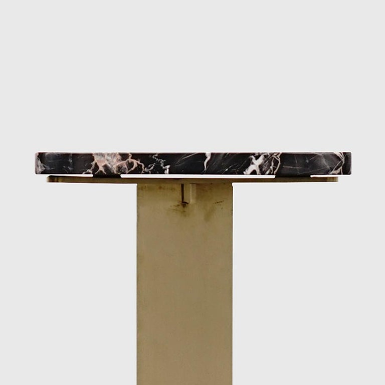 Drone Side Table Set x 2 Black Marble and Brass Table by ATRA For Sale 2