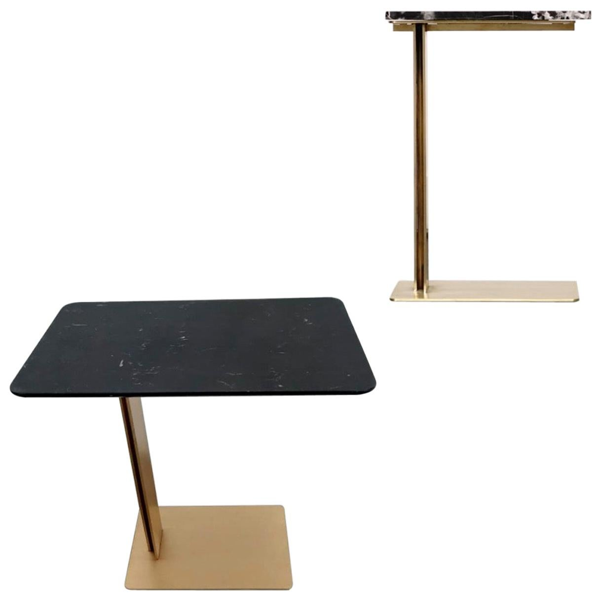 Drone Side Table Set x 2 Black Marble and Brass Table by ATRA