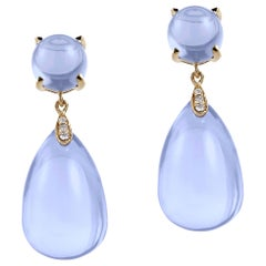 Goshwara Drop and Cabochon Blue Chalcedony With Diamond Earrings