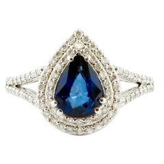 Drop Blue Sapphire, Diamonds, 18 Karat White Gold Ring